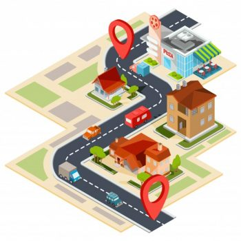 vector illustration of the navigation map with gps icons 1441 361